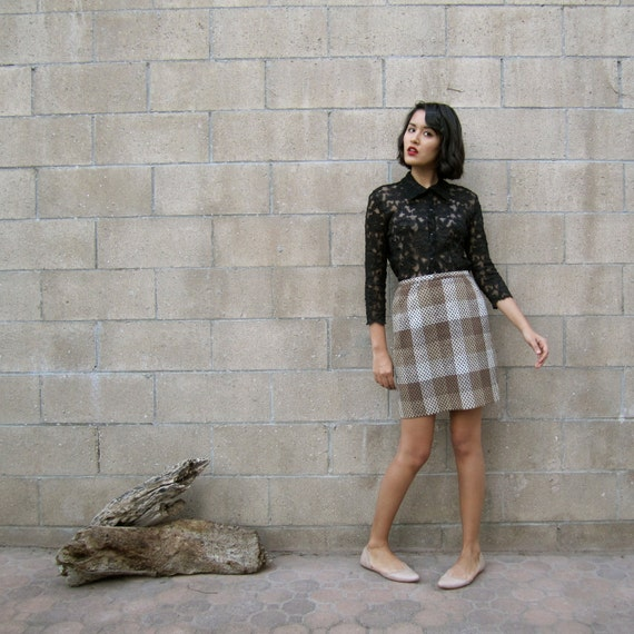 1960s skirt/ 60s mini skirt/ 60s earth tone mini S