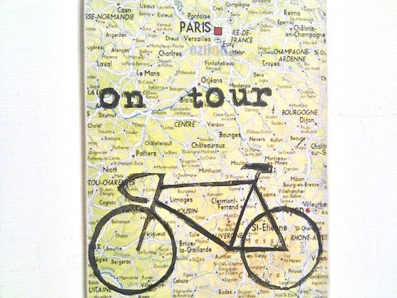 Bicycle Tour Door Tag -  Cycle Map Printed Bike Ride Sign