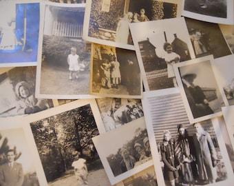 24 Antique Black and White Photos Lot Vintage Photographs Grab Bag
