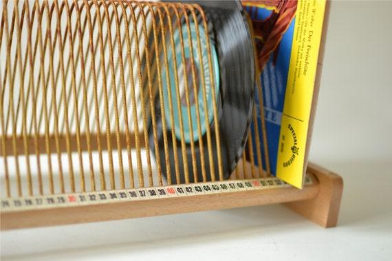 Vintage Lp Rack Vinyl Record Storage West German Wood
