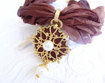 Brown Turkish Silk Necklace-Gold Plated Pendant  Necklace