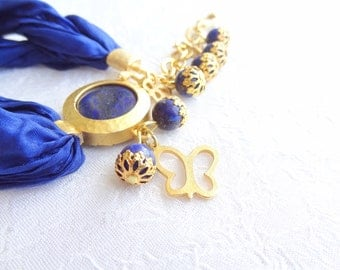 Lapis Lazuli Bracelet, Navy Blue Turkish Silk Bracelet, Gold Bracelet, Pendant Bracelet, Stylish Bracelet, Mother's Day Gift