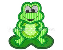 Frog Applique Machine Embroidery Design Lilypad Cute Boy Green Baby INSTANT DOWNLOAD