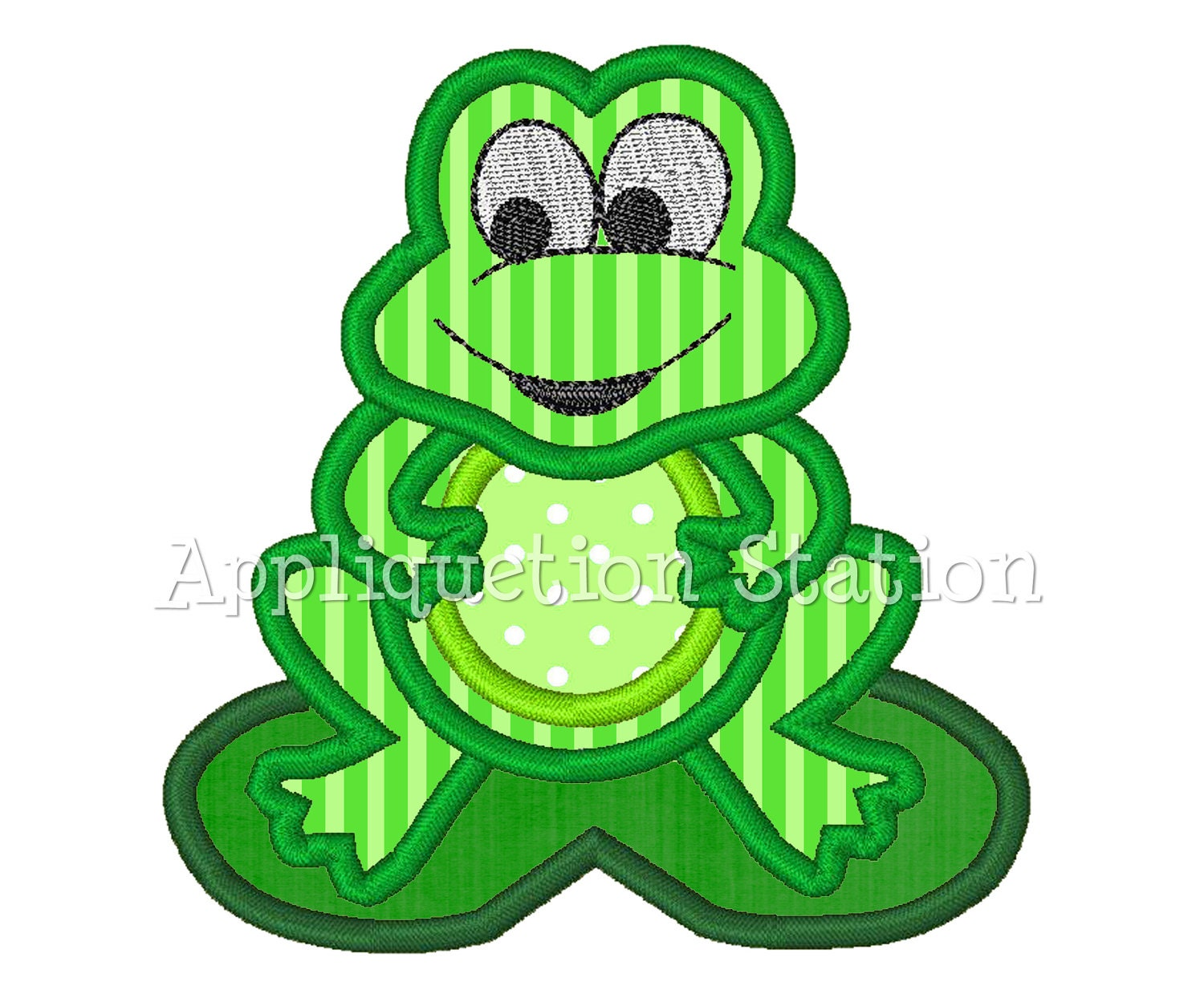 frog applique machine embroidery design lilypad cute boy green. Black Bedroom Furniture Sets. Home Design Ideas
