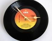 """Bill Withers Vinyl Record CLOCK made from recycled 7"""" single of """"Lovely Day"""". Chilled out Summer clock in warm orange and yellow tones ombre"""