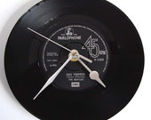 "The BEATLES Vinyl Record CLOCK. Made from a recycled Beatles 7"" single. Choose your favourite Beatles song...."