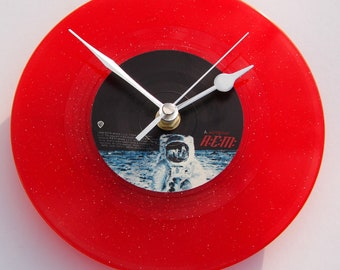 """REM """"Wanderlust"""" Original Vinyl Record CLOCK made from a recycled 7"""" single in RED coloured glitter vinyl. Spaceman on the moon."""