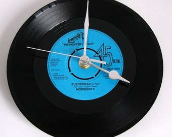 """The Smiths Morrissey Record Clock. """"Suedehead"""" or """"I Know Very Well How I Got My Name"""" An original Vinyl Record clock. Gift for Smiths fans"""