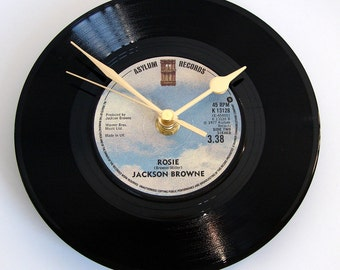 "Jackson Browne Vinyl Record CLOCK made from recycled 7"" single of ""Rosie"". Classic American vinyl single chart hits rose rosemary blue skies"