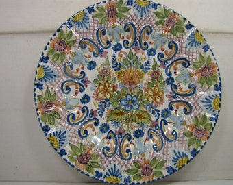 Beautiful Vintage Colorful Ceramic Plate with Vibrant colors and Design