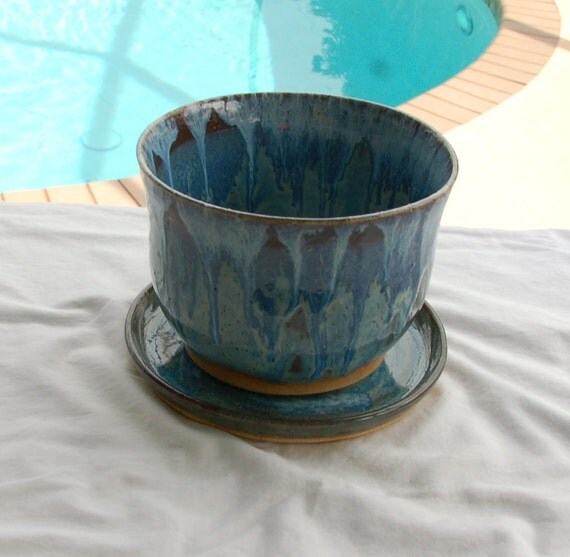 Large Planter with Hole in Bottom for Drainage with Matching Plate in Blues, Purples and Browns from Pottery by Saleek
