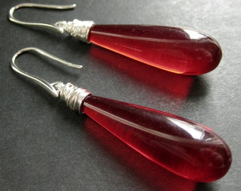 Long Earrings. Red Earrings. Extra Long Dangle Earrings Wire Wrapped in Silver. Handmade Jewelry.