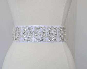 Bridal crystal belt, rhinestone sash, bridal sash, bridal belt