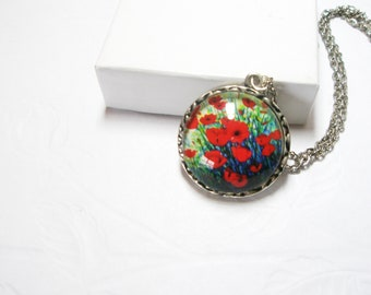 Red Poppy  pin -Red Poppy Necklace  Flower  Jewelry-  Mothers day gifts anf free gift