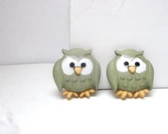 sale-Mini Owl stud  Earrings- Grey owl ring