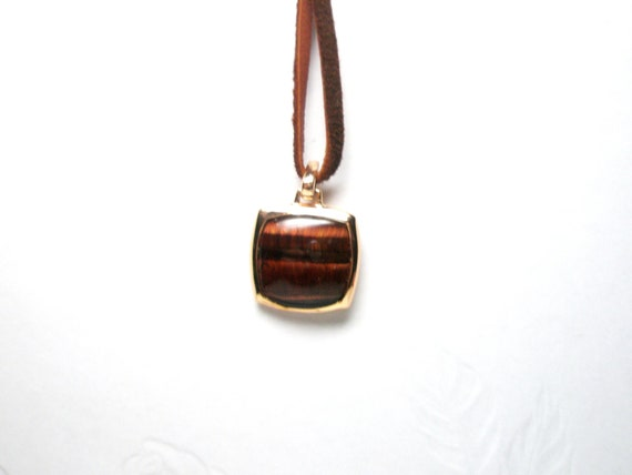 Unique Vintage Tiger's Eye Pendant Sterling .925  plated gold Necklace free gift