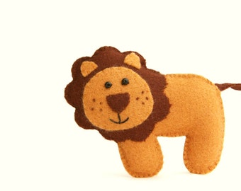 Felt Plushie Hand sewing Pattern PDF. Complete instructions to make Leo the Lion. Instant Download.