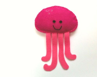 Felt Toy Plushie Hand sewing Pattern PDF. Complete instructions to make Squishy the Jellyfish. Instant download.