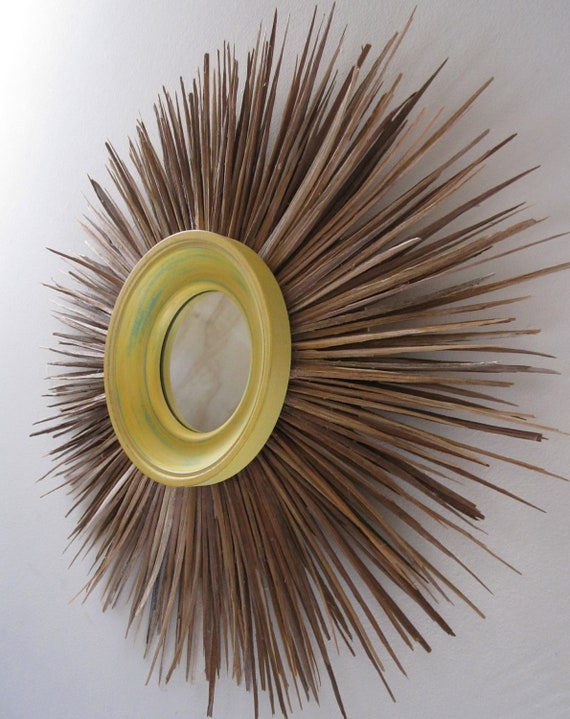 Handcrafted Natural Wood Yellow Starburst Mirror