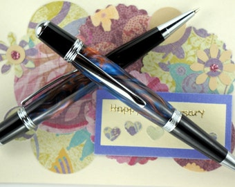 Handcrafted Acrylic Pen Pencil Set Hand Turned Blues and Browns Acrylic with Chrome and Black Hardware 265O