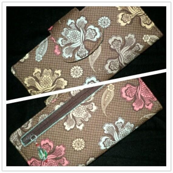 Womens Wallet, Brown, Aqua, Coral, 2 Zippered BiFold Organizer, handmade