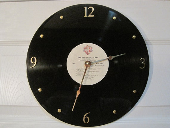 FLEETWOOD MAC - Vinyl LP record album clock. -Rumours- Upcycled