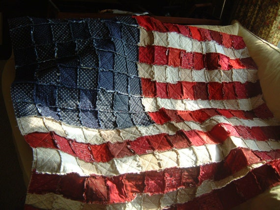 American Flag Rag Quilt Pattern - Paper