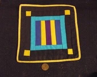 Miniature bright stipe Shaker quilt