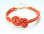 Arm party - Small Orange silk Knot Bracelet - 24k gold plated