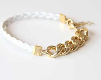 ON SALE: Arm Candy - Gold chunky chain with White leather braid Bracelet - 24k gold plated