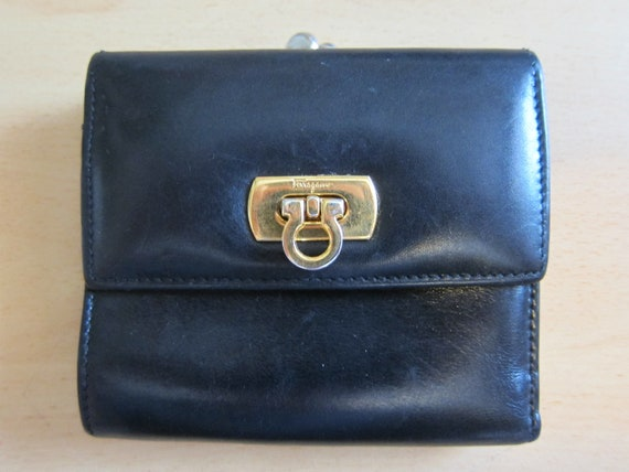 Ferragamo // 80s Black Small Leather Wallet with Gold Hardware Serial No. 220048
