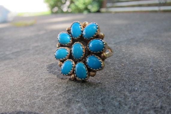 RESERVED FOR GAYLE // Vintage Native American Sterling SIlver Ring with Turquoise Stones - Size 7.75