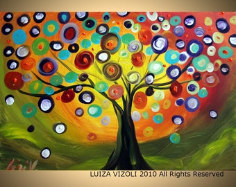 TREE at SUNSET Modern Landscape LARGE Giclee on Gallery Wrapped Canvas of Original Painting by Luiza Vizoli
