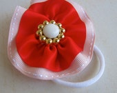 Baby Girl Toddler Preschool Hair Elastic or Hairband , Pink, Red, and White Flower