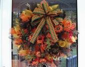 Pumpkin Fall Thanksgiving Deco Mesh Wreath