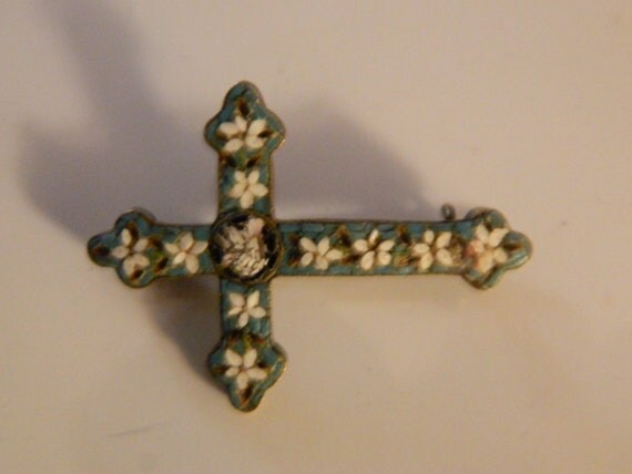 Micro mosaic cross 1930s brooch pin 1930s pin green white flowers brooch micro mosaic