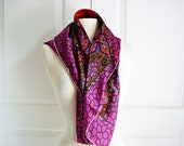 Vintage 60s funky floral scarf/ purple brown blue and rusty orange scarf/ colorful psychedelic scarf/ square