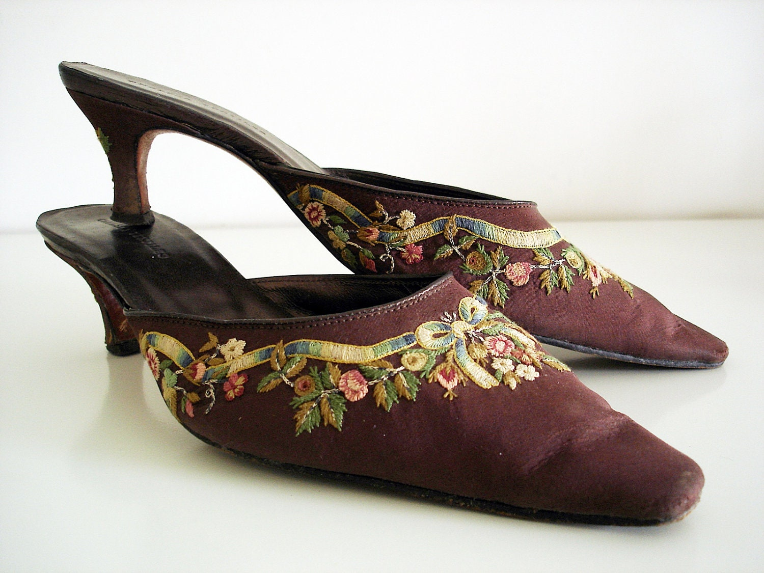 Vintage 90s Silk Embroidered Shoes/ Brown Mules By By ...