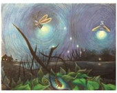 Fireflies Illustration printed card.