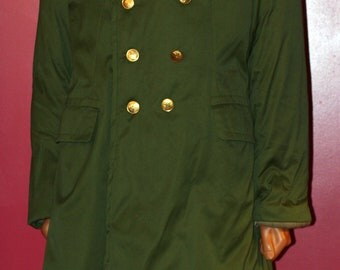 vintage asian military puffy coat with fleece collar