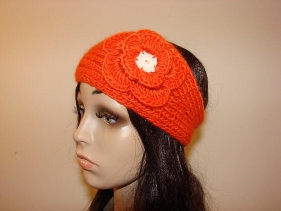 100% Peruvian Wool Woman Teen Young Adult Girl knit chunky headband with crocheted flower handmaded  orange ski