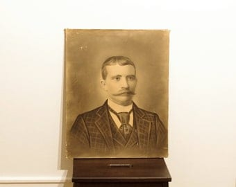 Vintage Charcoal Portrait Of A Dapper Gent