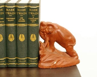 Plaster Elephant Bookends - Red Elephants