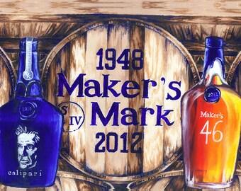 University of Kentucky Champion Bourbon Oil Painting Print; UK makers mark art; barware; wall decor, wedding hostess, wall decor; gift him