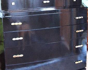 Vintage,Black,Gloss,Enamel,Highboy Dresser, Chest-On-Chest