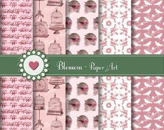 Pink Digital Paper, Birds Digital Paper Pack, Birds Scrapbook, Vintage Scrapbooking, Birdcages - Printables - Blossom Paper Art - 1029