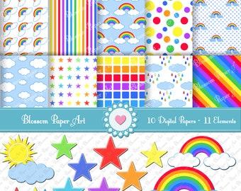 Rainbow Digital Scrapbooking Paper, Printables Rainbow Digital Paper Pack, Scrapbook - 10 Sheets  - 11 Clipart - Parties - Scrapbook - 1355