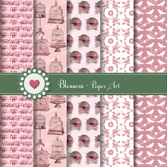 Papeles decorativos digitales pajaros rosas papel para - Papeles decorativos para imprimir ...