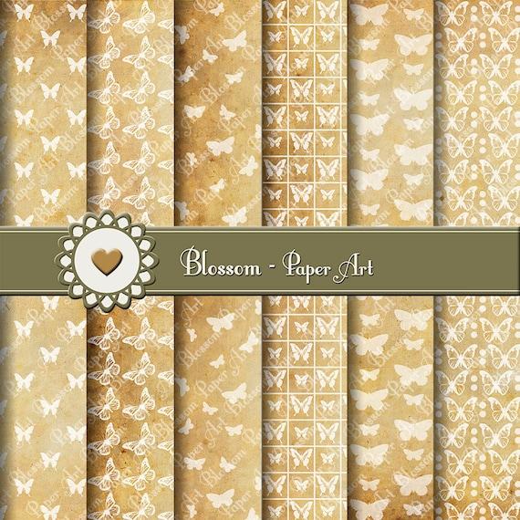 Papeles digitales antiguos papel antiguo mariposas para for Papel decorativo dorado