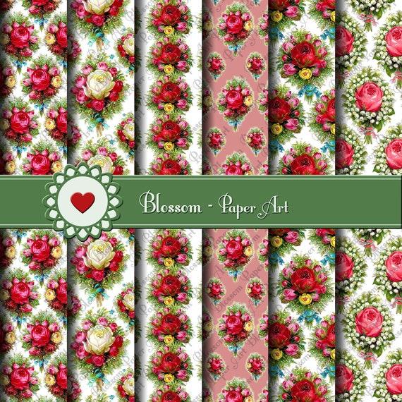 Papeles Digitales de Rosas rojas Flores Vintage por blossompaperart